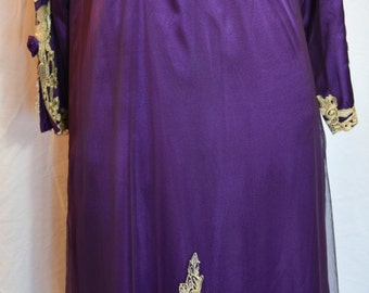 Vintage Purple Silk Full Length Tribal Dress with Gold Embroidery