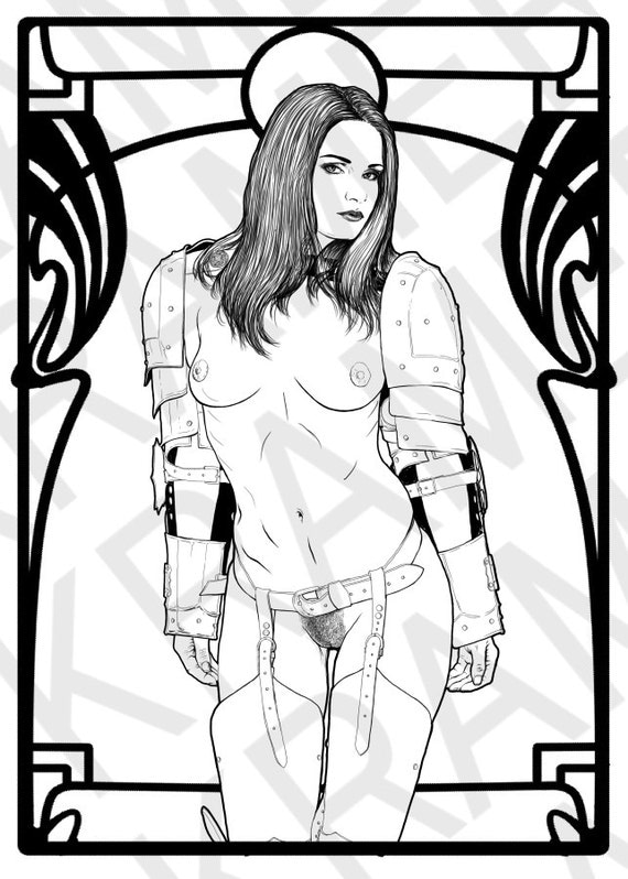sexy flashing semi nude woman in mediaval knight costime single erotic adult coloring page - Nude Coloring Book