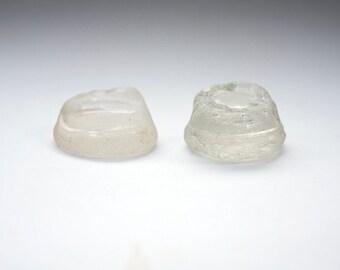 2x SEAGLASS BOTTLE PARTS surf tumbled ocean worn white clear sea glass uk english beach treasure chunky ocean glass collectible coastal art