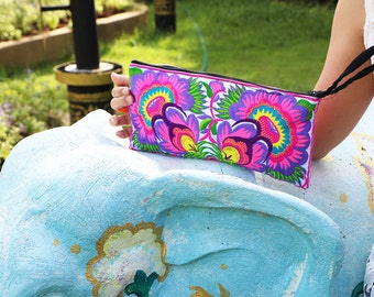 Colorful Floral Clutch With Embroidered Fabric