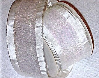 "ONE 15 Yd Roll 2-1/4"" White Wired-Edge Formal Satin Ribbon With Iridescent Center-Strip * A Swiss Import From A&B Imports * Wedding Attire"