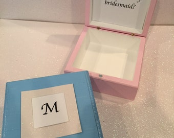 Will you be my Bridesmaid Jewelry Box with First Initial