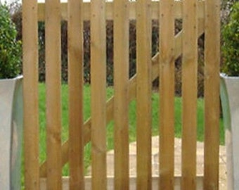 Picket Gate 3ft x 3ft Pointed Top Treated Wooden Garden Gates Wood High Quality Handmade In Devon