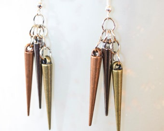 Tri-Colored Spiked Dangle Earrings