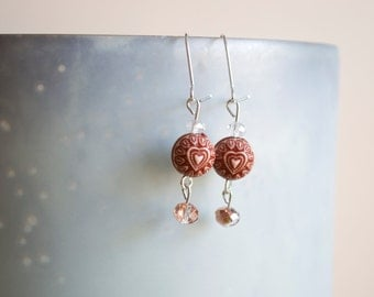Carved Heart and Crystal Dangle Earrings
