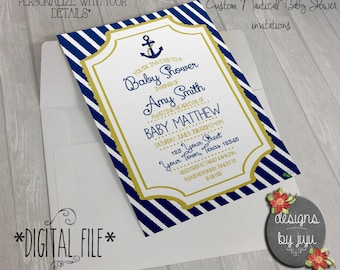 Nautical Baby Shower invitations *DIGITAL FILE*