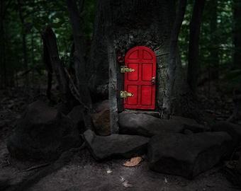 Fairy door red etsy for Red elf door