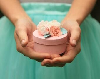 Pink wedding ring box - Floral ring box - Wedding ring bearer - Wedding ring holder - Pink wedding - Ring bearer box