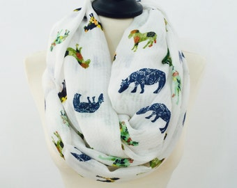 Horse Infinity Scarf, Cowl Scarf, Printed Scarf, Horse Scarf, Womens Scarf, Winter Scarf, Loop Scarf, Christmas Gift
