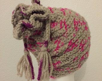 Beanie Hat pink magenta natural beige Bobble knit stripe pattern -