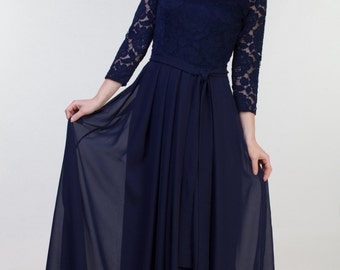 Long navy blue bridesmaid dress with sleeves Navy blue lace dress Long navy dress Navy bridesmaid dress Prom navy dress