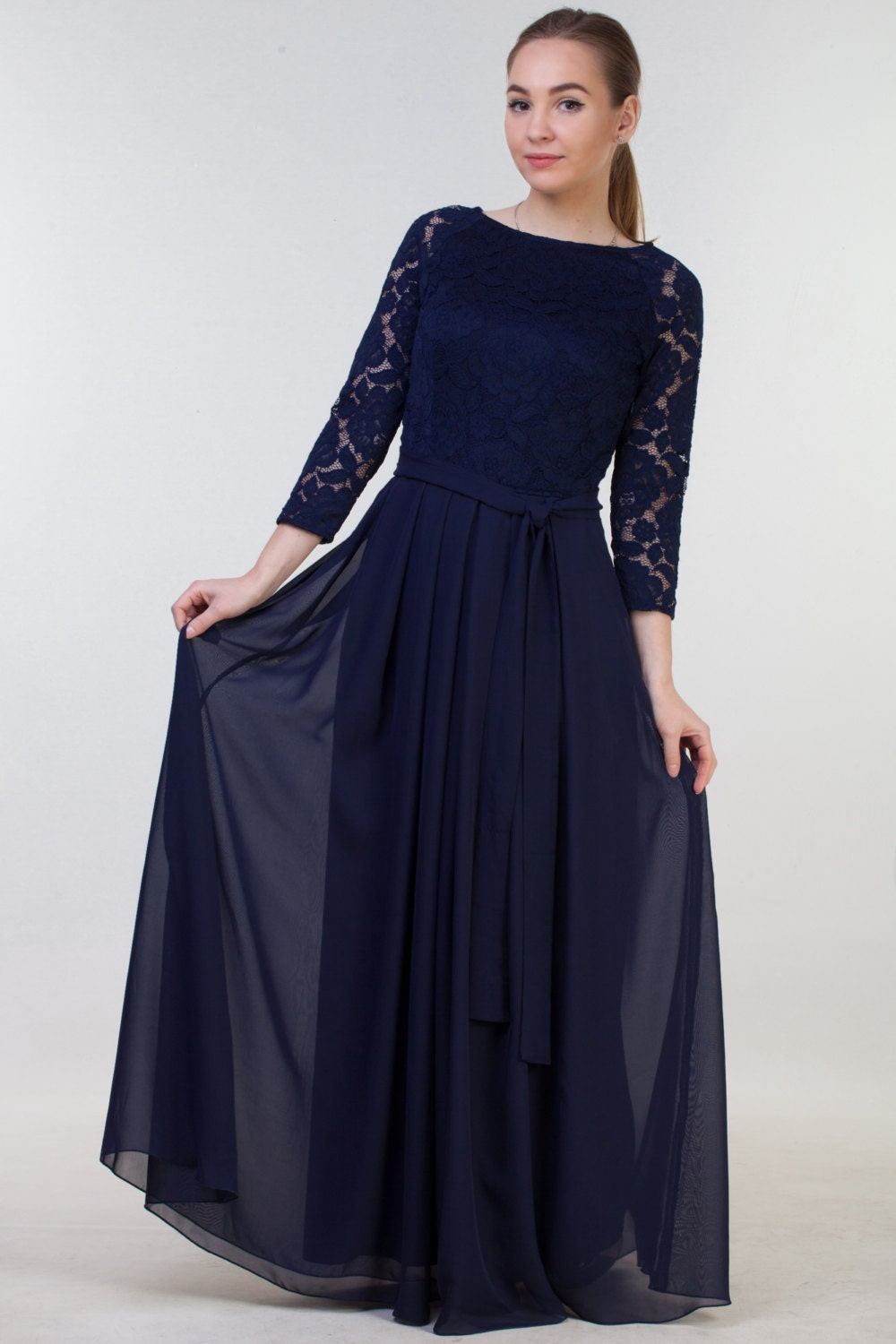 Long navy blue bridesmaid dress with sleeves navy blue lace details lace navy blue dress ombrellifo Gallery