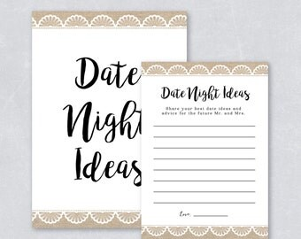 Bridal shower game / Rustic bridal shower / Burlap and lace / Date night ideas card / Wedding Card / DIY printable / INSTANT DOWNLOAD