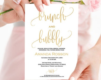 Gold Bridal Brunch Invitation Shower - Gold and White Bridal shower invitation - Wedding brunch invitation - Printable wedding #WDH304_6