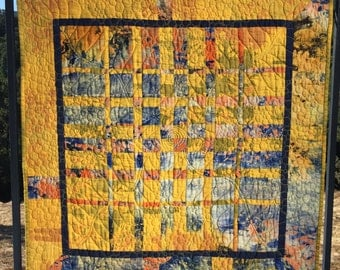 "Original design contemporary textile quilted wall art. Modern fabric art. Abstract textile wall hanging.  Blue/Gold/Yellow/Orange 30""x31"""