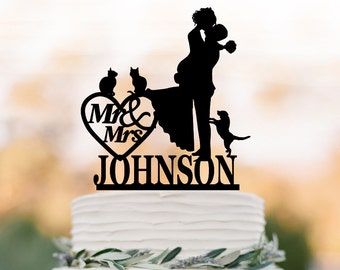 Custom Wedding Cake topper mr and mrs, Cake Toppers with dog, bride and groom silhouette, cake toppers with cat, 2 cats cake topper