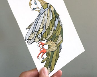 Owl Illustration Original Drawing Art - No. 86 - Marker and Ink Green Red Feathers plumage summer trend neutrals - affordable art OOAK