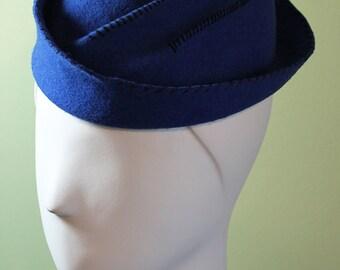 Royal Blue - Women's Wool Handmade Sailor Hat - Women's Bright Blue Wool Hat - 1940s Style Hat - OOAK