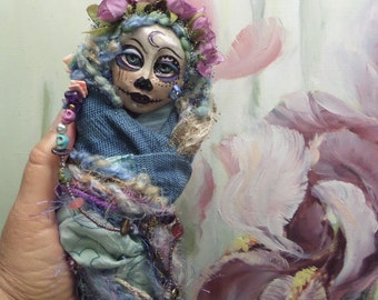 Sugar Skull art doll, Dia de los Muertos, Kitchen Witch, Ooak art doll, Griselda Tello Original dolls