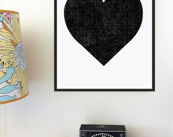 Black Heart Print Art Screenprint Minimalist Graphic Art Print - Valentines Day - Modern Heart Bold Wall Art Home Decor