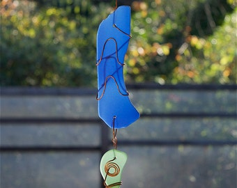 Suncatcher Sea Glass with Copper Sun Catcher stained glass beach glass