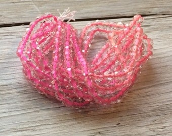 Glass beads, Czech glass beads - faceted round beads pink lined clear 6mm 25 pack
