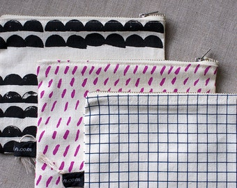 Two-sided Metal Zip Pouch. Organic screenprinted fabric, made in Melbourne.