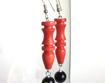 Handmade Red and Black Earrings with Long Carved Tube Beads and Glossy Black Glass Beads with Red and Yellow Circle Dots - Silver Earwires