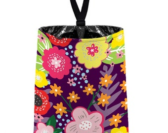 Car Trash Bag // Auto Trash Bag // Car Accessories // Car Litter Bag Car Garbage Bag - Floral Burst Plum Purple Car Organizer Flower