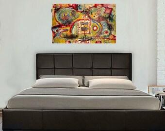 Stale Communications, Huge, Abstract, Paintings, Original Art, Home Decor, Interior Design, Modern, Wild, Winjimir, 2 Paintings, Ebsq
