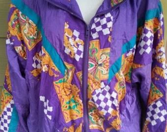 Vintage 80s Baggy Purple Abstact Jacket Windsuit Windbreaker Size