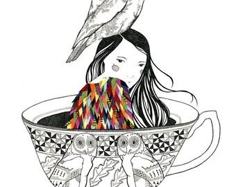 Owl In The Attic - Print