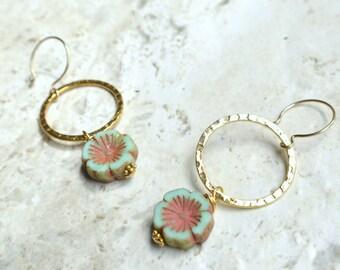 The Rhianon- Green and Brown Czech Flower Hoop Earrings