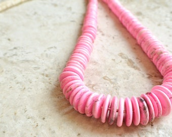 CLEARANCE- The Ghana- Pink and White Magnesite Statement Necklace