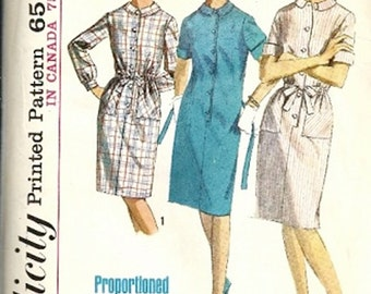 Simplicity 5878 Misses Proportioned Shift Dress 60s Vintage Sewing Pattern Size 12 Bust 32 Short, Average, Tall