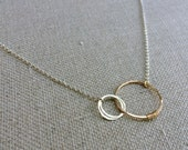 Love Links Necklace with Two Circles, Gift for Mom, Gold and Silver Necklace, Mother of Twins, Hammered Wire Pendant Mother of 2 mom of two