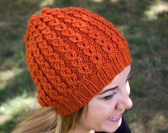 Pumpkin Orange Slouchy Knit Hat - Orange Vegan Hat - Boho Hat - Hipster Hat - Hippie Hat - Womens Tam - Mens Beanie - Unisex Hat