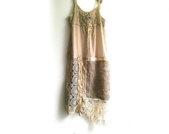 Gold Caramel Dress, Vintage Lace, Embroidery, Pretty Dress, Boho Dress, Rustic, Romantic Clothing