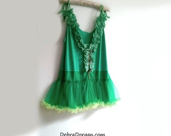 Green Ruffle Top, Vintage Buttons, Upcycled, Ruffles, Boho, Pretty, Lime, Gold