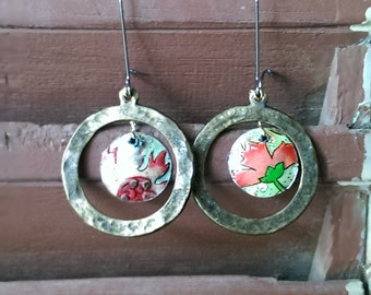 Vintage Tin, Flower, Hoop Earrings, Hammered Brass, Lightweight, Pretty Earrings, Boho