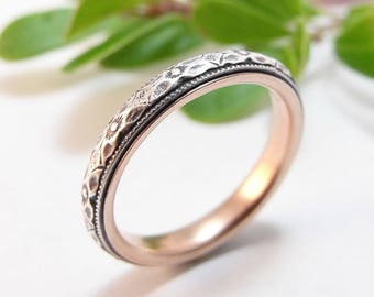 Skinny Wedding Band Womens Wedding Band Sterling Silver Wedding Rose Gold Wedding Womens Wedding Ring Womens Ring Thin Narrow Floral Wedding