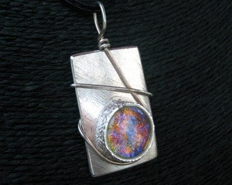 Mirror Ruby Sapphire Dichroic Glass and Fine Silver Necklace