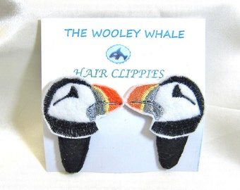 Maine Puffin Hair Clips set of 2 embroidered on felt