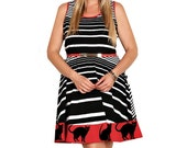 Women's Cat Dress Retro Style Pin up Plus Size Fit and Flare Dresses Womens Cats Clothing Red Striped Red Crazy Cat Lady A-line Kitten Print