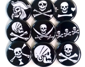 Pirate Jolly Roger Skulls Badges Buttons Pinbacks x 9