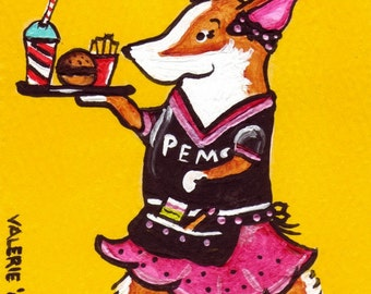 "PEMBROKE WELSH CORGI Art Print Corgi  Summer Art Print ""Pem's Drive In""  Dog Art ~ Dog Lovers Gift  Dog Art Print Corgi ~Rollerskating Corgi"