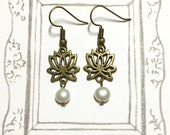 Peaceful Lotus Antique Brass Earrings, Fresh Water Pearl Earrings, Zen Earrings, Flower Earrings, Feminine Earrings, BFF Gift, Gift for Mom