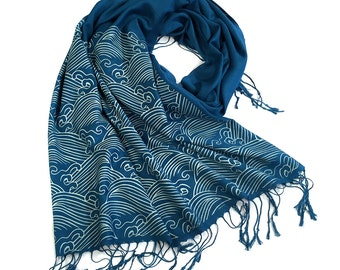 Crashing Waves scarf. Japanese textile motif pashmina. Silkscreened linen weave pashmina; choose ice on teal blue & more.