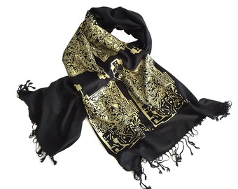 Circuit Board Scarf. Computer science, electrical engineering gift. For men or women. Linen weave pashmina. Black & gold and more!