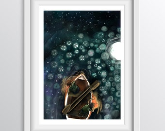 Boat Nursery Wall Art - Dreamy Adventure night time wall art - A4 fine art print for children's walls